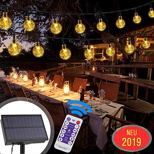 LED Solar Lichterkette Aussen, 30er LED 8 Modi IP65 Wasserdicht Warmweiß Außerlichterkette Deko Beleuchtung Kugel mit Fernbedienung| Warmweiß für Garten,Hochzeiten, Partys[Energieklasse A+++]