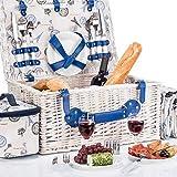 Panier pique-nique pour 4 personnes - Panier en osier de luxe pour pique-nique avec couverture de pique-nique...