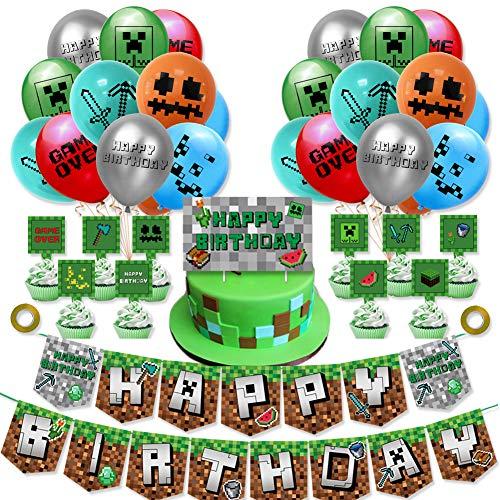 Nesloonp 38 piezas Gaming Cumpleaños Decoracion Globos de Látex Video Gamer Happy Birthday Pancarta Cumpleaños Gaming Adornos de Pastel Gaming Videojuegos Globos para Miner Gamer Party Favors