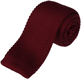 Mens Flat End Tie Handmade Skinny Square Knit Necktie