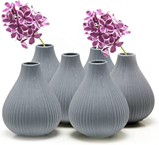 """Chive – Set of 6 Frost, 3"""" Wide 3.5"""" Tall Round Clay Pottery Flower Vase,.."""