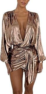 MS Mouse Women's Long Sleeve Sexy Deep V Neck Shiny Metallic Club Mini Dress