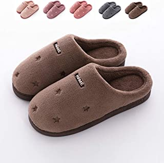 Cotton Slippers, Women Home Warm Soft Bottom Slippers, Indoor Non-Slip Large Size Men's Slippers,E,46/47