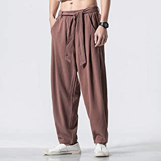 Chinese Tang Suit Hanfu Pants Chinese Style Men's Linen Casual Pants Loose Large Size Lantern Wide Leg Trousers