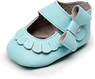 XYAN Baby Shoes Magic Tape Soft Bottom PU Anti-skid Breathable Party Grass Green Light Blue (Color : Light blue, Size : 14)