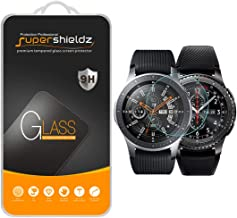 Supershieldz (2 Pack) for Samsung Galaxy Watch (46mm) and Gear S3 Frontier Tempered Glass Screen Protector, Anti Scratch, Bubble Free