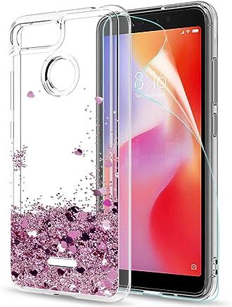 LeYi Funda Xiaomi Redmi 6 / Redmi 6A Purpurina Carcasa con HD Protectores de Pantalla, Mujer Brillante Transparente TPU Gel Silicona ZX Oro Rosa