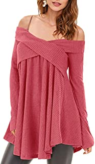 f44d113fed052e DressLily UK · Amazon · Rosegal Women Cold Shoulder Long Sleeve Crossover  Sweater Knit Pullover Tunic Top