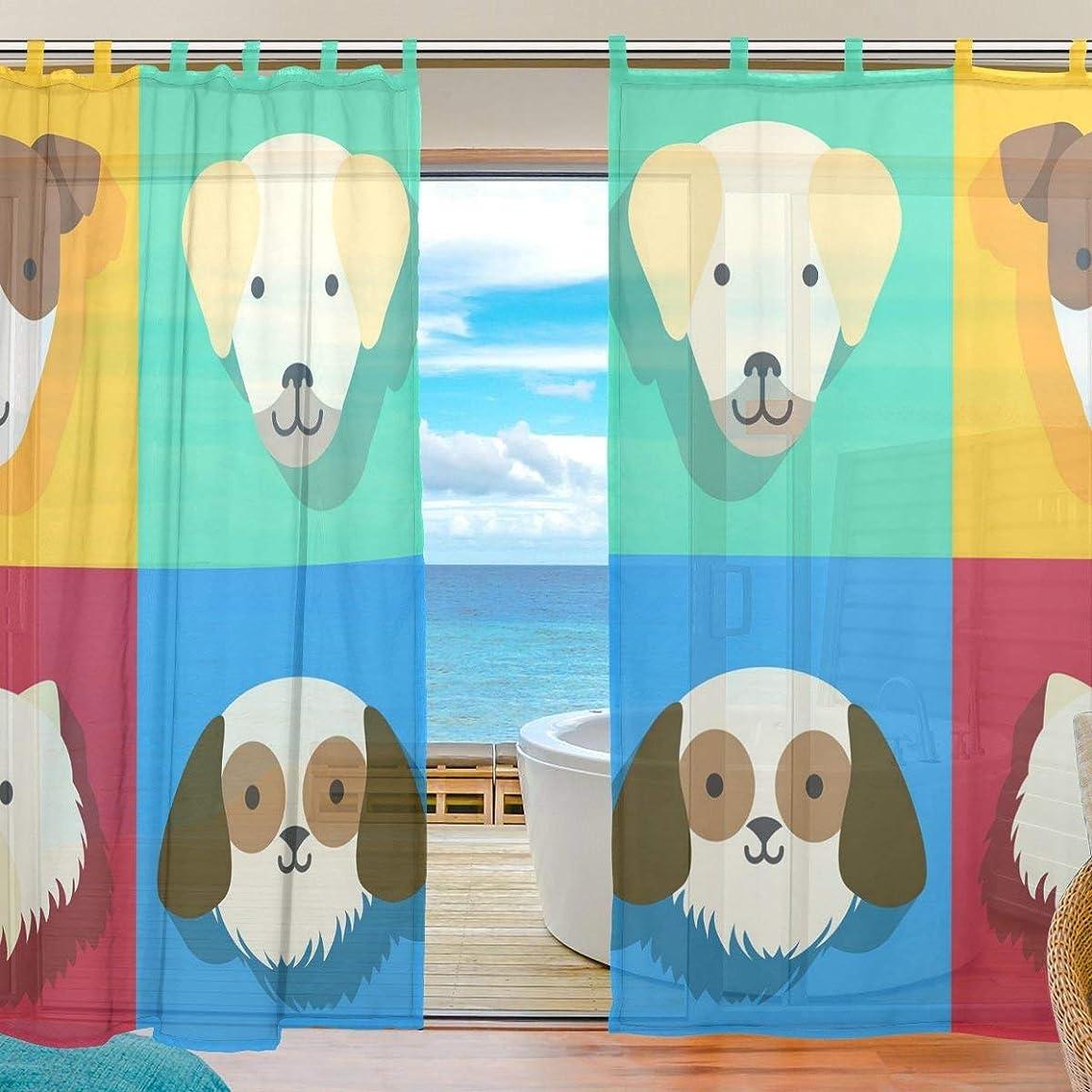 記憶レビュアー不承認ZOMOY(ユサキ おしゃれ 薄手 柔らかい シェードカーテン紗 ドアカーテン,おしゃれ かわいい 漫画 犬,装飾 窓 部屋 玄関 ベッドルーム 客間用 遮光 カーテン (幅:140cm x丈:210cmx2枚組)