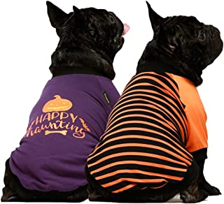 Fitwarm 2-Pack Halloween Dog Shirt for Pet Clothes 100% Cotton Puppy T-Shirts Cat Tee Breathable Stretchy Costumes Medium