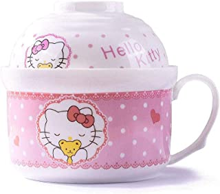 Cute Cartoon Instant Noodle Bowls for Children As a Good Gift, Ramen Noodle Soup Pasta Bowls with Lid and Handle