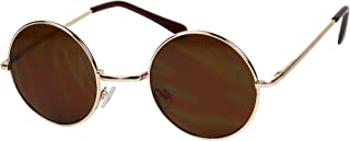 Basik Eyewear - Lennon Style Small Round Original Gold Retro Circle Vintage Sunglasses