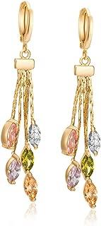 Femmes 18K Or Plaqué Zircone Cubique Zircone cubique Dangle Drop Boucles d/'oreilles longues Bijoux Filles