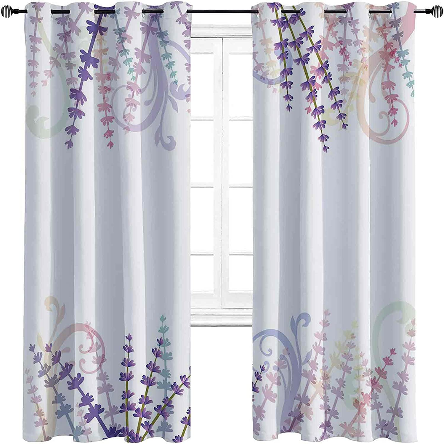 Beauty products overseas Lavender Blackout Curtains - Gasket Abstract Insulation Meadow