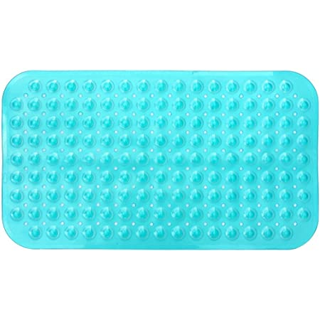 Clear, 15x27.5 2pc Pack Anti-Slip Anti-Bacterial with Strong Suction Cups PVC Bathtub Mat Non-Slip Bathtub Mat