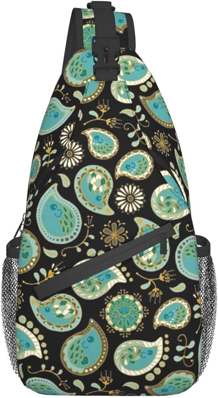 Hedgehog Paisley_Teal BgBlack Oakland Mall chest Ranking TOP14 Backpac Sling bag diagonally