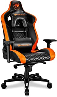 Cougar Armor Titan ultimate gaming chair with premium breathable pvc leather, 160kg support, 170 degree reclining (Black and Orange)