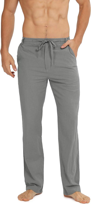 WULFUL Men's Drawstring Dedication Casual Trousers Linen 2021 model Beach Lightweight