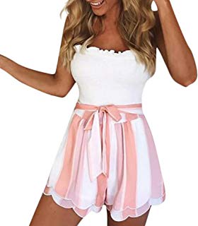 Fanteecy 2018 New Women Striped Floral Petal Layered Hot Pants with Bow Tie Summer Casual Beach High Waist Shorts