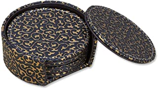 KINGFOM Set of 6 Leather Coasters with Holder Tabletop Protection Cup Mat for Drinks 4 Inch Gold & Black Embossed Pattern