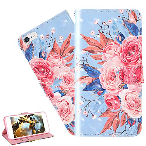 LEMAXELERS iPhone 8 Plus / 7 Plus Case iPhone 8 Plus Cover 3D Glitter Colorful Flower PU Leather Flip Notebook Wallet Case Magnetic Stand Card Slot Folio Bumper Case for iPhone 8 Plus,2YX Color Flower