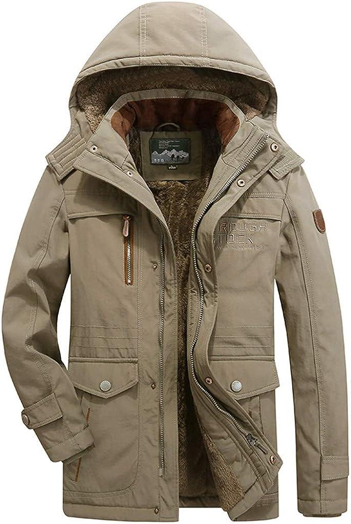 DIOMOR Mens Fashion Military Fleece Jac Detachable trust Import Lining Hooded