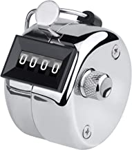 KTRIO Metal Hand Tally Counter 4 Digit Tally Counters Mechanical Palm Counter Clicker Counter Handheld Pitch Click Counter Number Count for Row, People, Golf, Lap & Knitting, 2 x 1.85 inches, Silver