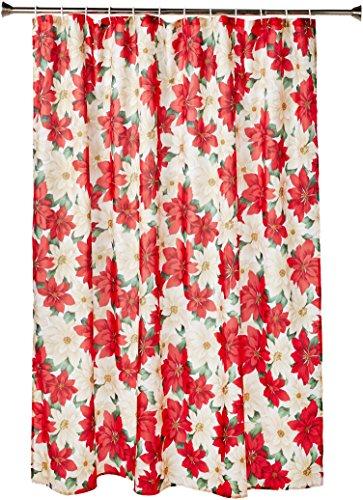 "Violet Linen Decorative Christmas Printed Poinsettia Design Shower Curtain, 72"" x 72"", Floral"