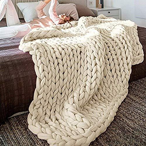 Martin Kench Decke Gestrickte Handgefertigt Riese Klobig Grobe Strickdecke Wolle Garn Decke Sofa Stuhl Sofa Super große Arm Stricken Sperrig Zuhause Dekor (Beige,120 * 180cm)