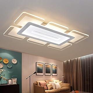 Lámpara de techo LED Control remoto regulable 100W Plafones de sala modernas Cocina Baño Pasillo Dormitorio Temperatura de color Ajustable (3000-6000K), iluminación de techo rectangular 60x90cm