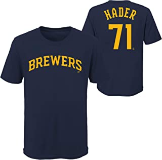 Josh Hader Milwaukee Brewers MLB Youth 8-20 Player Name and Number Navy T-Shirt Youth Sizing