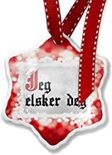 Diuangfoong Christmas Ornament I Love You Norwegian Classic Print from Norway, red
