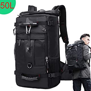 50L Waterproof Travel Backpack Men Women Multifunction 17.3 Laptop Backpacks Male Outdoor Luggage Bag mochilas for Men Women (Black)