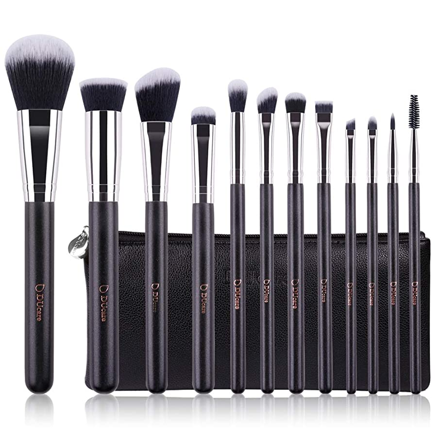 DUcare Makeup Brush Set 12pcs Premium Synthetic Foundation Powder Concealers Contour Eye Shadows Blending Face Brow Lip Blush with with Cosmetic Bag in Gift Box