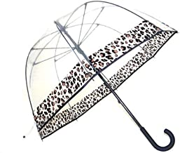 Clear Dome Bubble Umbrella With Leopard Cheetah Print Trim