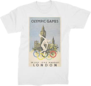 London British Olympic Games Vintage Poster Summer Collection London Olympic Games 1948 Fashion Print White T-shirt