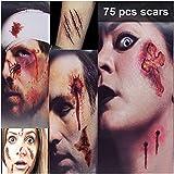 Zombie Makeup Tattoos, Halloween Zombie Makeup Kit, Scar Tattoos, 3(Large)+6(Small) Pack Vampire Bite Tattoo, Fake Scars, Halloween Makeup Kit, Waterproof Fake Blood Sticker,Zombie Makeup Kit for Kids
