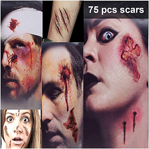 Zombie Makeup Tattoos, Halloween Zombie Makeup Kit, Scar Tattoos, 3(Large)+6(Small) Pack Vampire Bite Tattoo, Fake Scars, Halloween Makeup Kit, Waterproof Fake Blood, Safe Zombie Makeup Kit for Kids