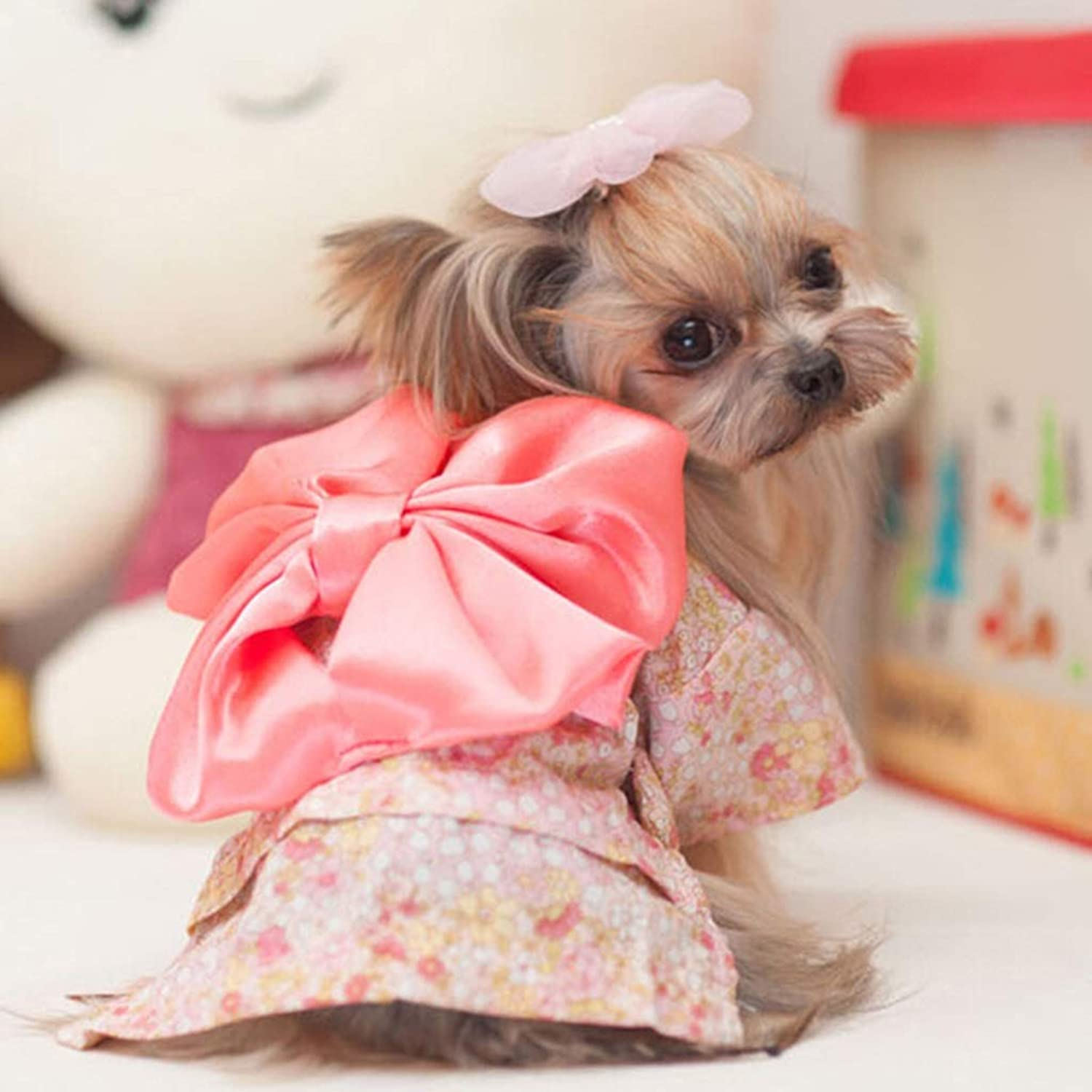 PLDDY Pet Clothes, Dog Clothes Floral Kimono Small Dogs Spring and Autumn Pet Supplies (color   Cherry Powder, Size   S)