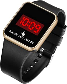 Boys Girls Touch LED Digital Watch Outdoor Sport Waterproof Watches with Square Silicon Strap