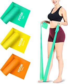 Potok Resistance Bands, 1.5 Meter Premium Quality Fitness Bands for Pilates, Yoga, Strength Training, Physiotherapy and Rehabilitation, for Men Women