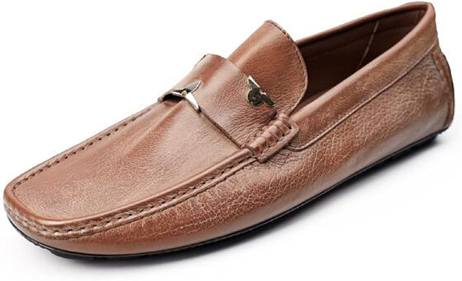 HAPPYSHOP Fashion Classic Business Men's Leather shoes Comfort Slip-on Moccasin Loafers Driving shoes Black