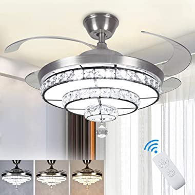 DLLT Crystal Ceiling Fan with Light, 36W Modern Ceiling Fan Remote, 4-Blade Retractable Led Fan Chandelier Outdoor/Indoor for