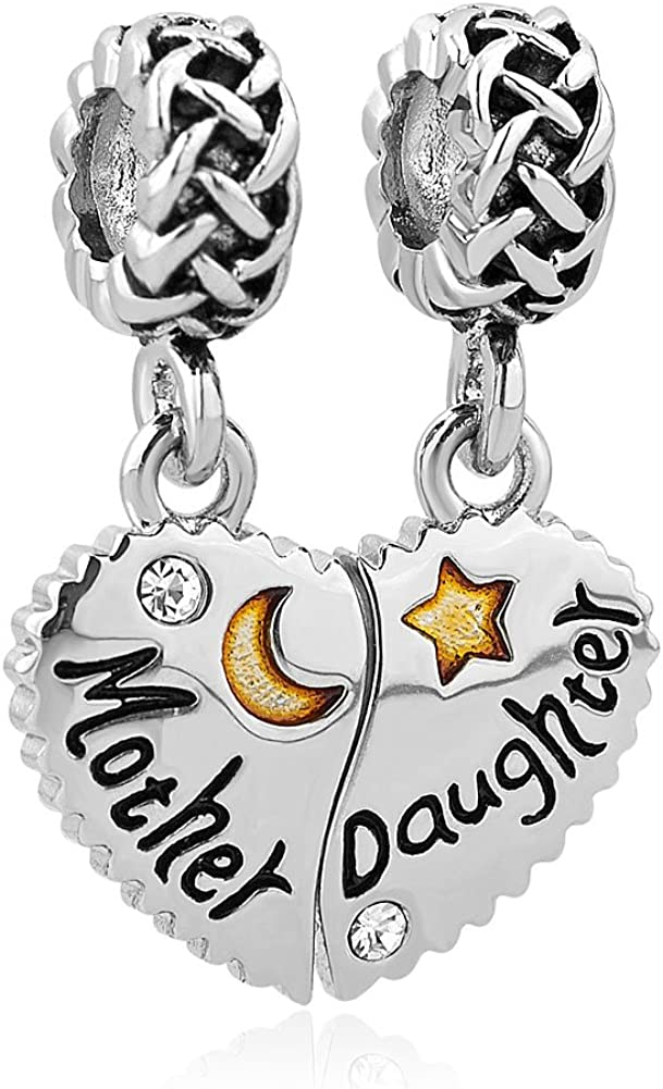CharmSStory Heart Love Mom Mother Daughter Son Charm Dangle Beads Charms for Bracelets