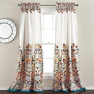 Lush Decor Clara Room Darkening Window Curtain Panel Pair, 84 inch X 52 inch, Turquoise/Tangerine, Set of 2