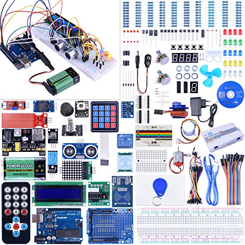 Kuman Full Ultimate Starter set and Lots of Accessories Elektronik Projekt Baukasten R3 Mikrocontroller Board und Zubehöre für ArduinoIDE K27