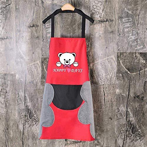 YUEZPKF Hermoso Toalla de Mano Delantal MIÑA A Prueba de Agua Cocina Cocina Cocina Cintura Coreana Creativa Linda Oso Colgante Cuello Cuello Copa Delantal Overseleve-Mano Frote (Rojo Negro)