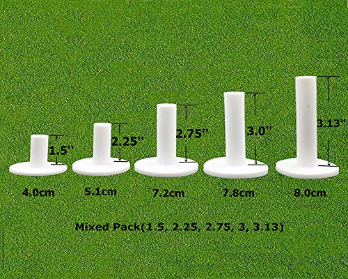 FINGER TEN Golf Rubber Tees Driving Range Value 5 Pack, Mixed Size or 5 Same Size for Practice Mat (Mixed Pack(1.5, 2.25, 2.75, 3, 3.13) in White)