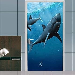 Papier peint de porte de requin de mer bleu profond auto-adhésif DoorPoster bricolage auto-adhésif mur photo PVC papier pe...