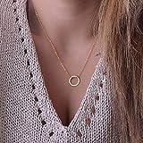 Ubright Fashion Collar con colgante de círculo, simple collar de cadena de joyería de oro para mujeres y niñas